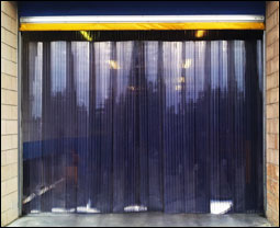 Large PVC Strip curtain kit in a warehouse doorway